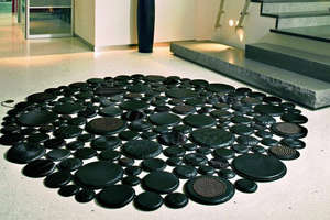 Pachamama 'Eclipse' Leather Rugs Look Like River Rocks