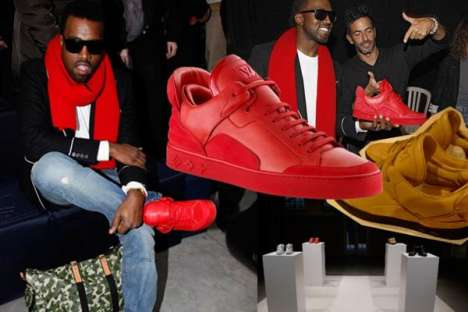 Flaming Red Sneakers - Kanye West's Footwear Release for Louis Vuitton Men
