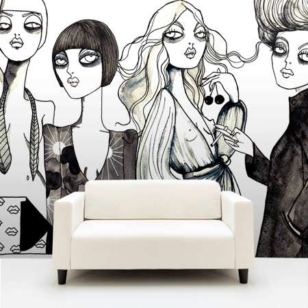 Personalized Illustrated Wallpaper - One-of-a-Kind Graphic Swedish Art Dresses Up Drab Walls