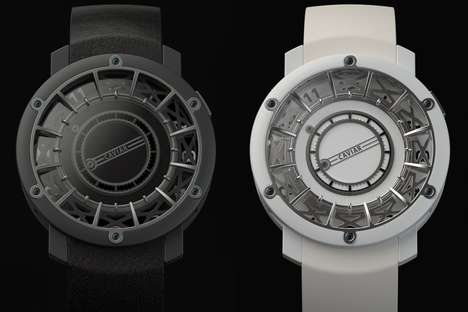 Hand-Free Rotating Wristwatches - The Jumping Hour Watch Timepieces Feature a Multilayered Interior