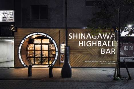 Whiskey-Centric Bars - This Bar Front Was Designed to Look Like a Whiskey Barrel