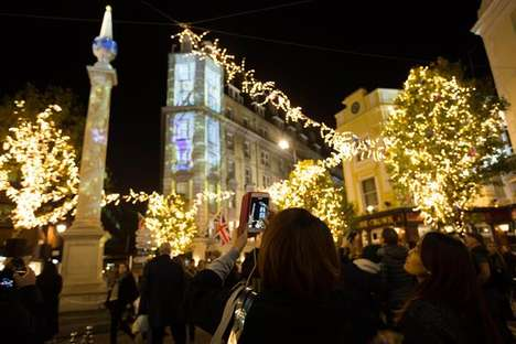 Festive Projection Mapping Shows - Shopping District Seven Dials Launched a Festive 3D Display