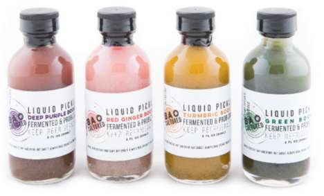 "Probiotic Pickle Shots - These Cultured Beverage Shots are Branded as ""Liquid Pickle Boosts"""