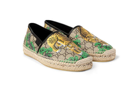 Luxurious Tiger Slip-Ons - These Gucci Shoes are Made from Coated Canvas and Premium Leather