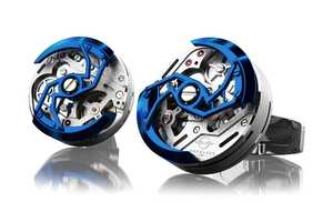 The Encelade Luxury Cufflinks Spin and Move Freely When Worn