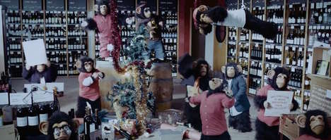 Chimpanzee Christmas Party Ads - This Oddbins Chimps Ad Has Chimps Decorating a Store