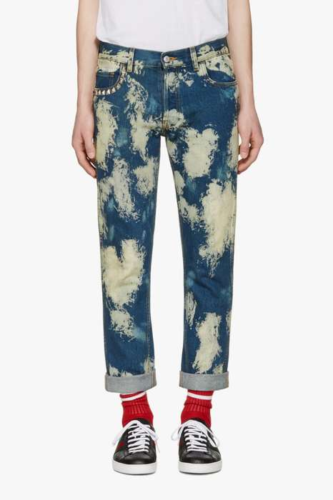 Studded Bleached Pants - These Slim Fit Jeans from Gucci Boast a Boldly Distressed Design