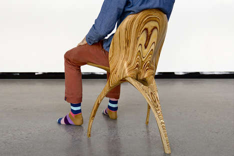 Folding Wooden Skeletal Seating - The 'Stratum' Wood Chair is Made Using CNC Machining