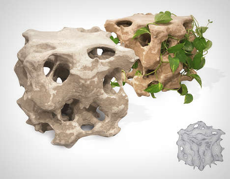 Rock-Inspired Concrete Seats - This Concrete Seating Structure Allows Foliage to Grow Within it