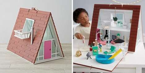 Pitched Roof Designer Dollhouses - The A-Frame Dollhouse Toy is Crafted from Premium Materials