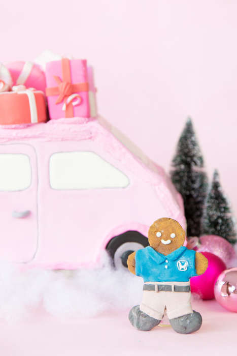 Pink Gingerbread Cars - This Edible DIY Project Gives a Holiday Craft a Girlish Appearance