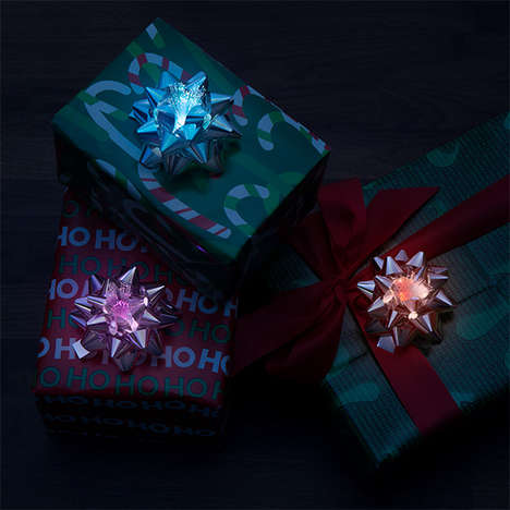 Glowing LED Gift Bows - These Fiber Optic LED Gift Bows Digitize Holiday Presents
