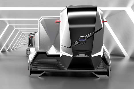 Modular Electromagnetic Shipping Trucks - The Volvo Autonomous Trailer AT404 Cargo Truck is Smart