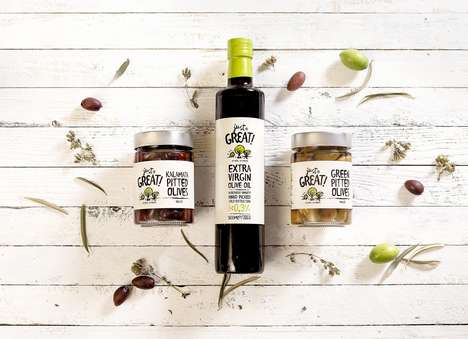 Illustrative Olive Packaging - This Collection of Pitted Olives and Oil is Vibrant and Playful