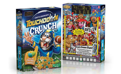 Millennial-Targeted Cereals - The Cap'n Crunch Touchdown Crunch Cereal is Branded for Older Males