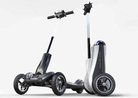Balanced Folding Electric Scooters - The 'Transboard' Scooter Vehicle Features an Efficient Design