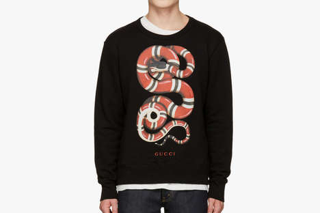 Luxurious Serpent Sweaters - This Statement Gucci Snake is Made from Cotton French Terry