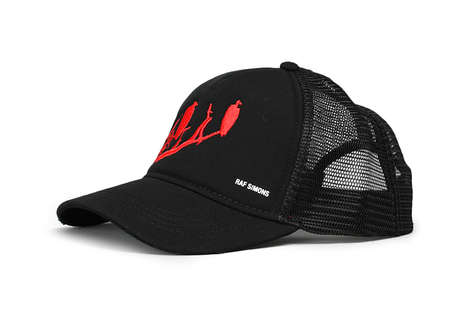Vulture-Emblazoned Trucker Hats - This Raf Simons Hat Features Artful Red Embroidery on the Front