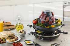 The Gourmia Electric Raclette Party Grill Cooks Multiple Foods