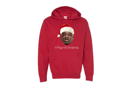 Atlanta Rapper Christmas Hoodies - This Festive 21 Savage Pullover Shows the Rapper in a Santa Hat