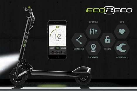 App-Connected Scooters - The 'EcoReco' Model R Powered Scooters Warns Smart Cars of Your Presence