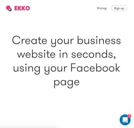 Social Website Builders - 'Ekko' Creates Business Websites from Existing Facebook Pages