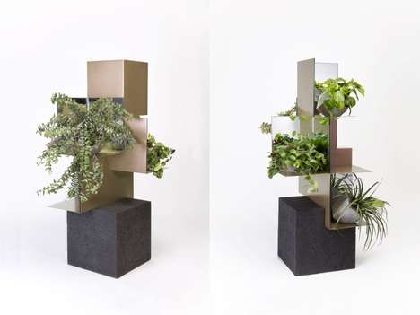 Volcanic Rock Plant Stands - The Comité de Proyectos Standing Plant Shelf is Architectural