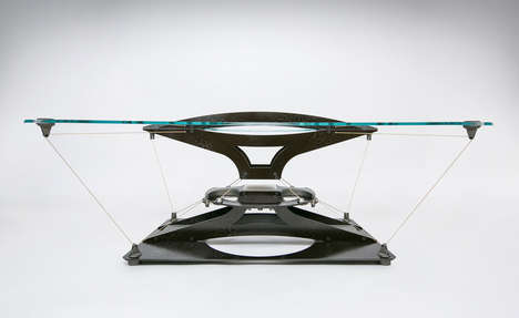 Levitational Coffee Tables - The 'Teles Taxídi' Living Room Coffee Table Features a Floating Design