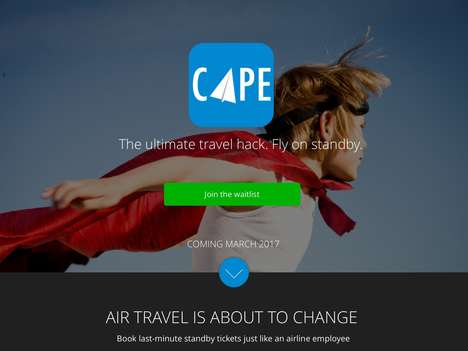 Standby Seat Travel Apps - The 'Cape' Airline Booking App Connects Passengers to Unsold Seats