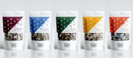 Typographical Travel Snack Packaging - The Snack Smart Co. Snacks are Packed with Nuts and Seeds