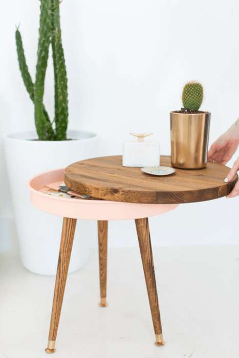 Custom Mid-Century Side Tables - This DIY Side Table Design Has a Hidden Storage Compartment