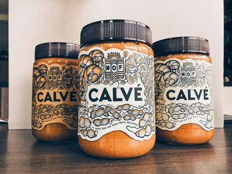 Art Nouveau Spread Jars - Calve's Peanut Butter Jars Feature Shapely and Unusual Labels