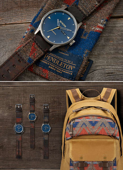 Americana Blanket Wristwatches - The Nixon x Pendleton Collection Infuses Watches with Woven Bands
