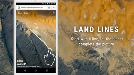 Geographic Line-Drawing Apps - 'Land Lines' Automatically Generates Map Images to Fit User Sketches