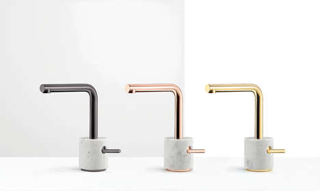 Etched Marble Faucets - The Aquabrass 'Marmo' Faucet Collection is Metal and Marble-Infused