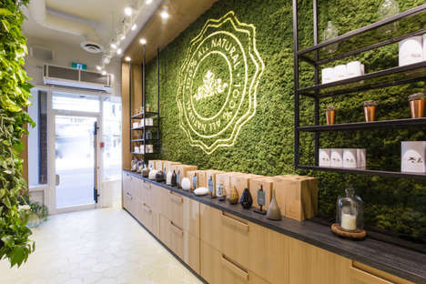 Green Wall Retail Displays - The Saje at Home Concept Store Blends Organic Products with Greenery