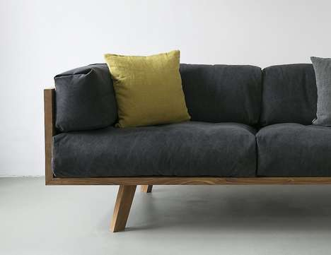 Naturalistic Cushion Couches - The NUTSANDWOODS Oak Linen Sofa Ensures Comfort in All Seasons