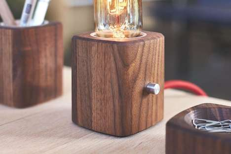Old-Fashioned Wooden Desk Lamps - The Grovemade Walnut Desk Lamp Features an Edison-Style Bulb