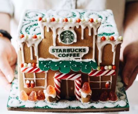 Gingerbread Cafe Kits - This Festive Gingerbread House is Shaped Like a Starbucks Cafe