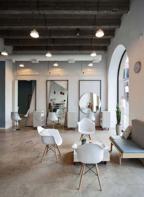 Abstract Salon Mirrors - 'OD Blow Dry Bar' Has Mirrors in Irregular Shapes