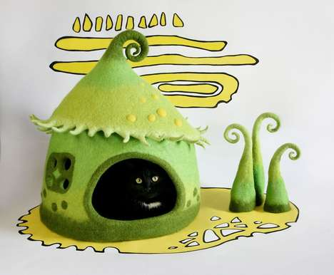 Whimsical Cat Caves - Yuliya Kosata's Cat Caves Look Like Dr. Seuss Illustrations