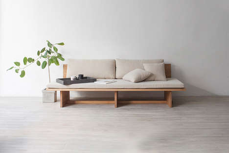 Raw Wooden Daybed Designs - The 'Blank' Daybed Sofa Balances a Rigid Frame with Soft Cushions