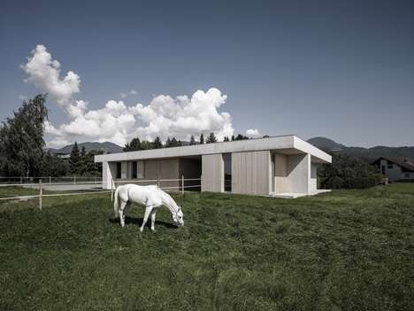 Brutalist Veterinary Offices - Griss Equine Veterinary Practice is Located in an Austrian Field