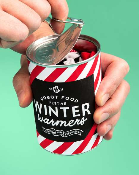Canned Sock Gifts - Robot Food Gave Out Socks in a Can as Client Gifts for Christmas