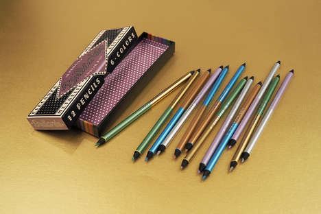 Double-Sided Metallic Pencils - These Pencils Feature Vintage Italian Branding