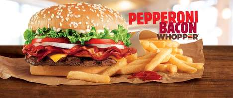 Pepperoni-Topped Burgers - The Pepperoni Bacon Whopper Features Three Different Types of Meat