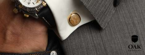 Reclaimed Whiskey Barrel Cufflinks - These OAK Cufflinks Offer a Creative but Sophisticated Design