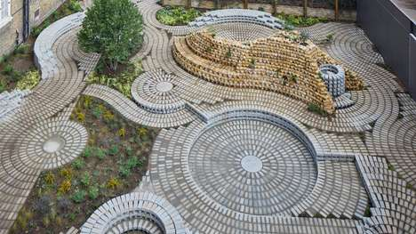 Intricate Circular Gardens - The South London Gallery Garden Features a Swirling Brick Pattern