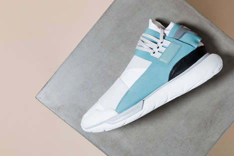 Streamlined Elastic Sneakers - The Qasa High Crystal White Sneakers from Y-3 Have a Futuristic Look