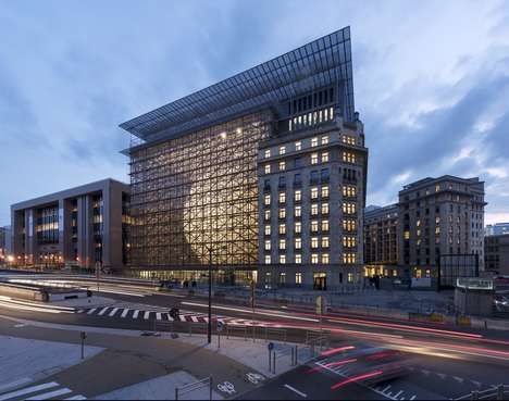 Lattice-Encased Spherical Buildings - The European Council Building is in Brussels, Belgium